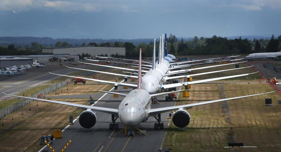 Dreamliners at the Everett, Wash., plant wait to be delivered.