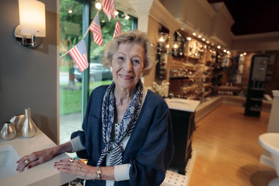 June Springer, who is 90, works as a receptionist at Caffi Plumbing and Heating, in Alexandria, Va.