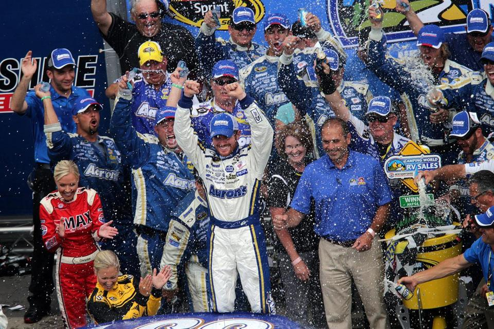 Brian Vickers's win at Sunday at NHMS was worthy of a big celebration — health problems had helped keep him out of Victory Lane since 2009.