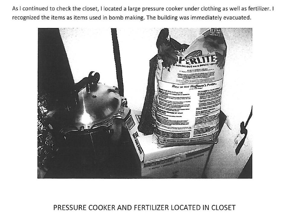 Police found a large pressure cooker and fertilizer, items for bomb making, in Morley's closet in Topsfield.