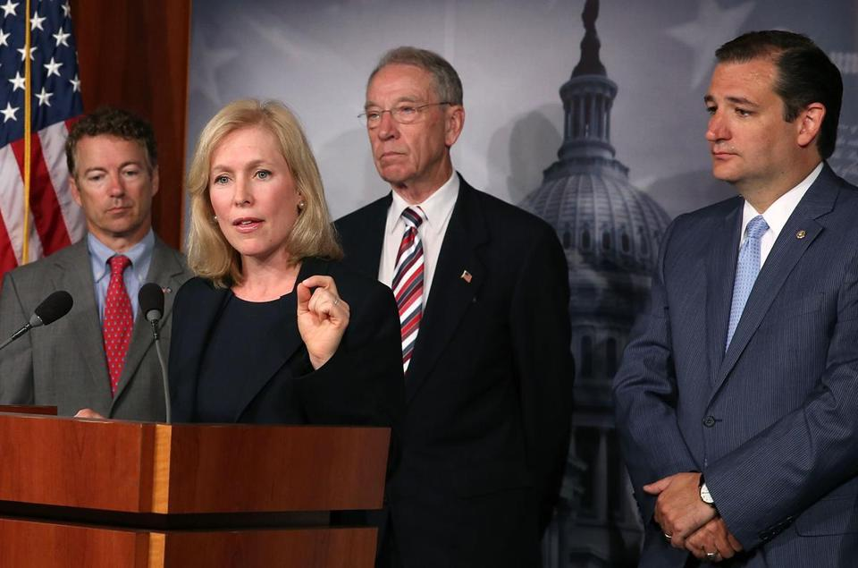 Senators (from left) Rand Paul, Kirsten Gillibrand, Charles Grassley, and Ted Cruz spoke at a news conference Tuesday on a Senate proposal to curb sexual assaults in the military.