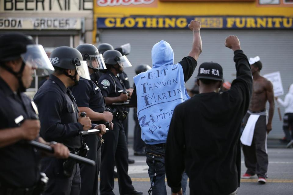 Los Angeles was one of the cities where peple protested Monday in reaction to the verdict in George Zimmerman's trial.