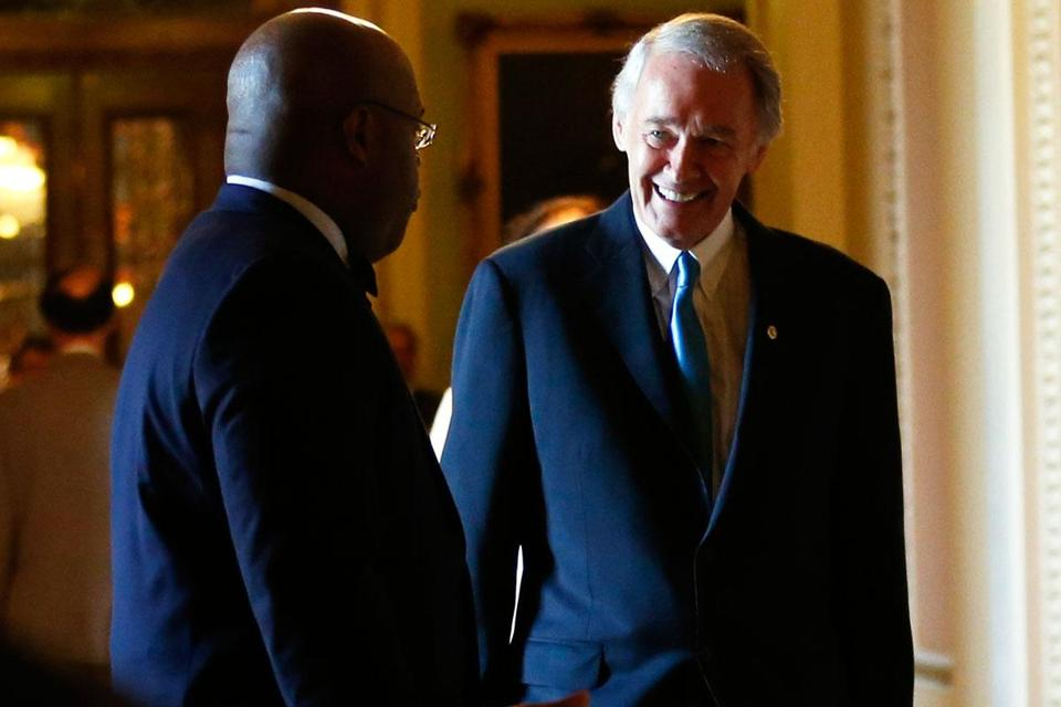"Senator Edward Markey (right) spoke with outgoing senator William ""Mo"" Cowan after his swearing-in."