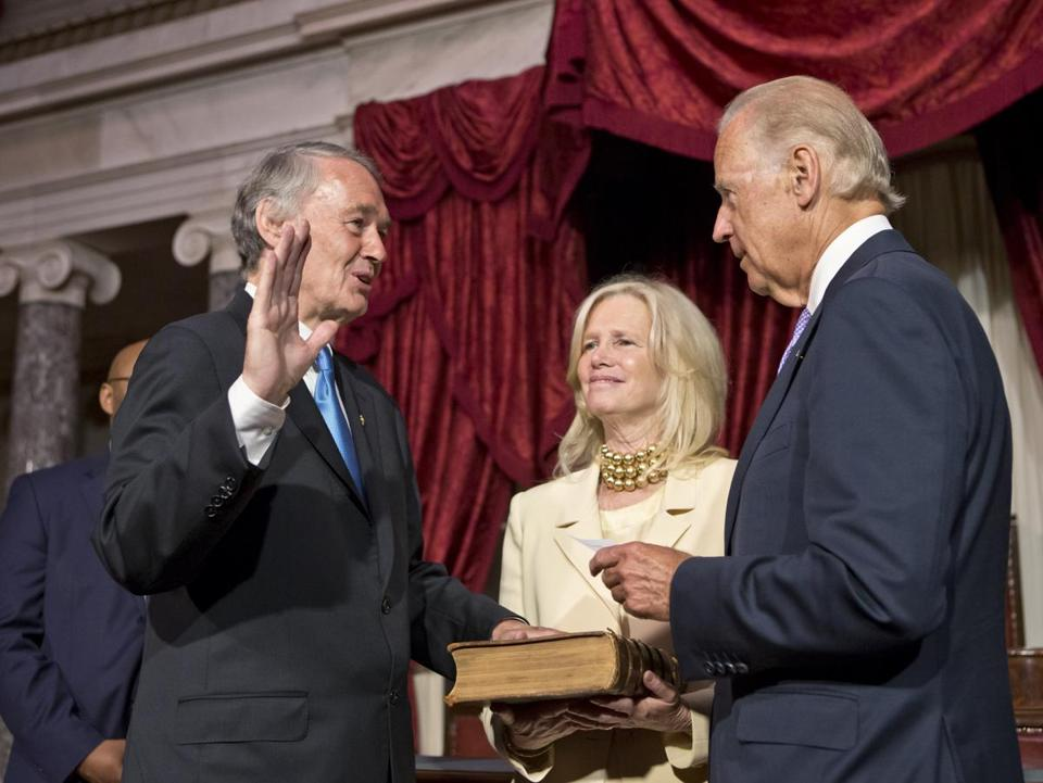 Sen. Edward Markey was sworn in by Vice President Joe Biden in the Old Senate Chamber at the Capitol in Washington Tuesday.