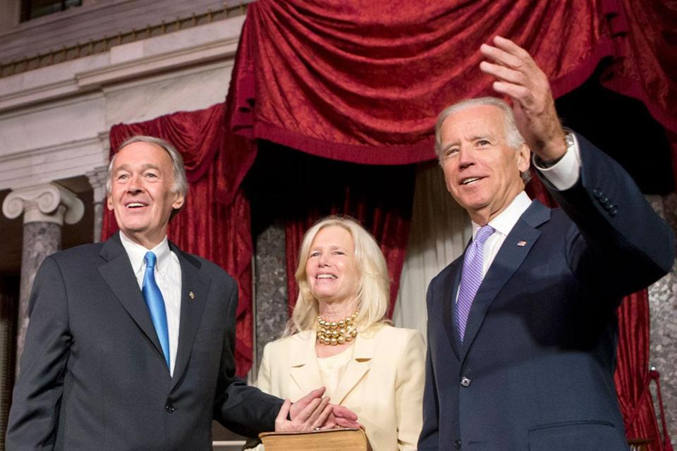 Edward J. Markey and his wife, Susan J. Blumenthal, with Vice President Joe Biden in the Old Senate Chamber on Tuesday during a ceremonial reenactment of his swearing-in.