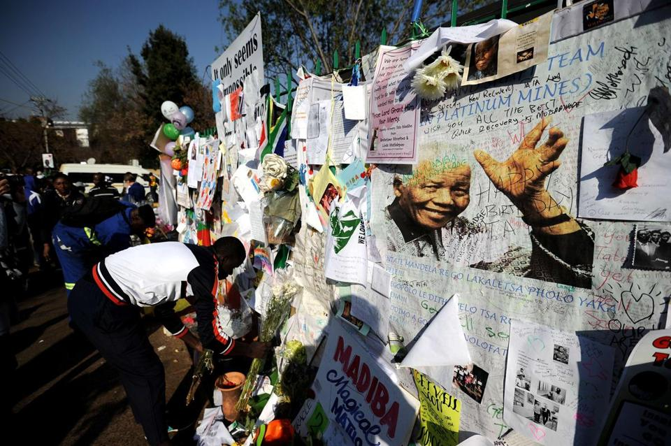 Support and affection was clear near the Pretoria hospital where Nelson Mandela has been treated for 40 days.