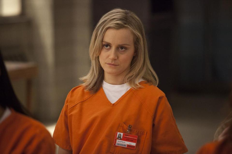 "Taylor Schilling in Netflix's critically acclaimed show ""Orange Is the New Black."""