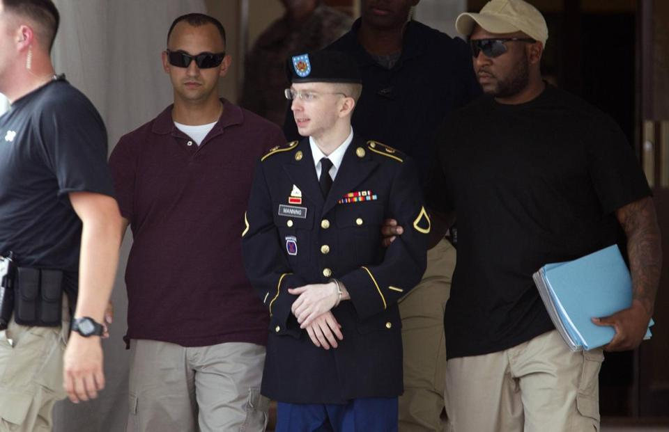 Private First Class Bradley Manning was escorted out of a courthouse Thursday at Fort Meade in Maryland. His defense team had argued in court Monday that Manning did not act voluntarily and deliberately in aiding the enemy when he leaked the documents.