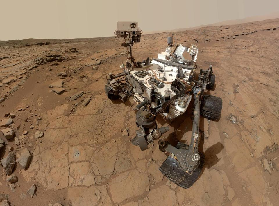 The Curiosity rover has determined the Martian air is made mostly of carbon dioxide with hints of other gases.
