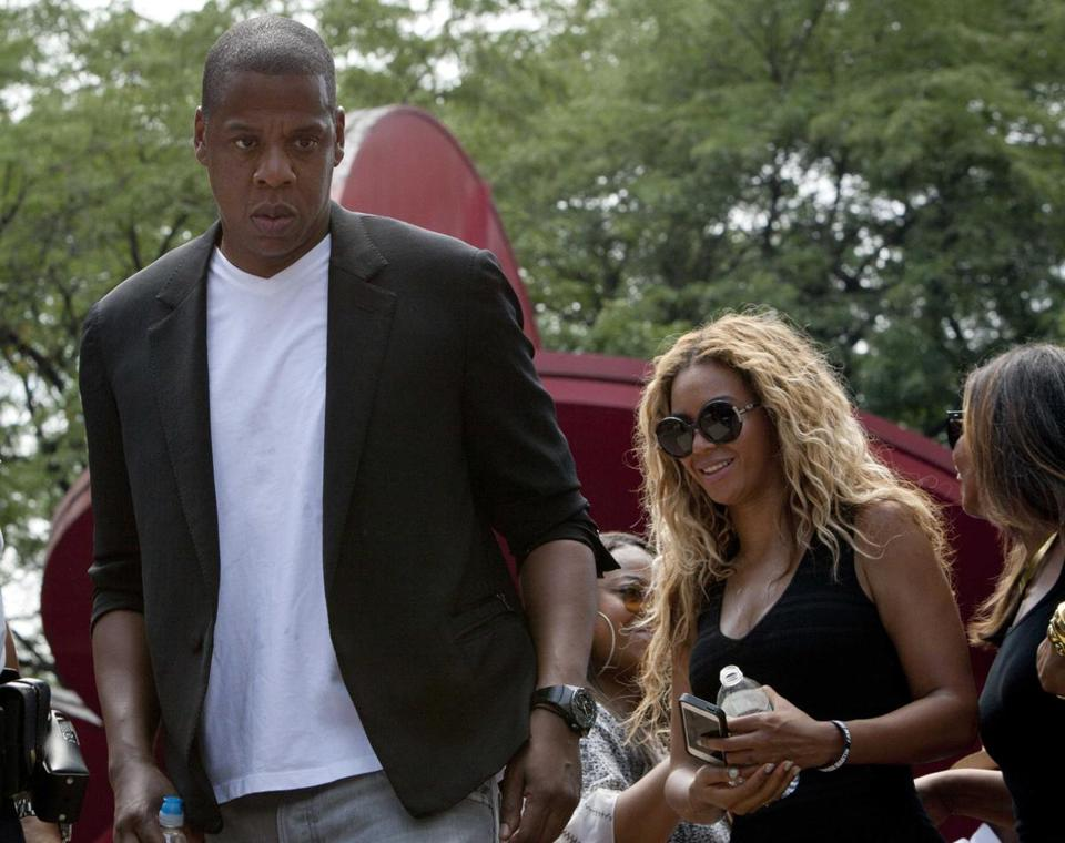 Singer Beyonce and her husband, rapper Jay Z, attended a rally for Trayvon Martin in New York.