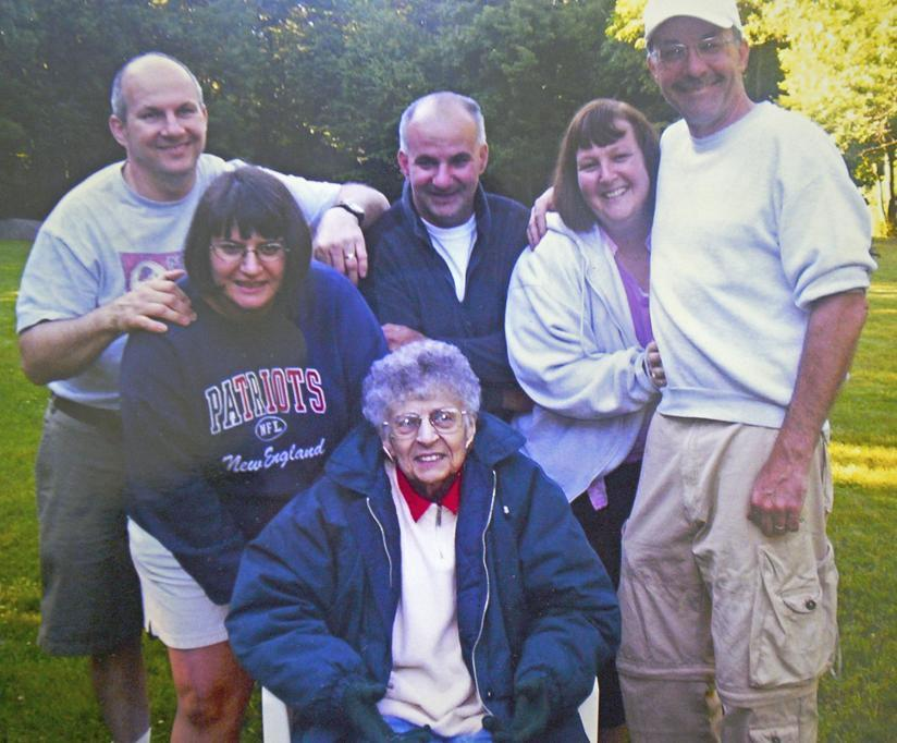 In a family photo of the Walshes before they discovered the siblings shared a potentially fatal gene, are (from left) Steve Walsh, his sister Beth Lambert, brother Mike, sister Kathy Flores, brother Dave, and their mother, Mary Walsh.
