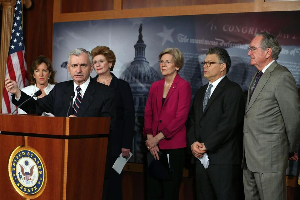 Senator Jack Reed (second from left) spoke about student loan rates during a news conference on Capitol Hill last month, accompanied by (left to right) senators Kay Hagan, Debbie Stabenow, Elizabeth Warren, Al Franken, and Tom Harkin.