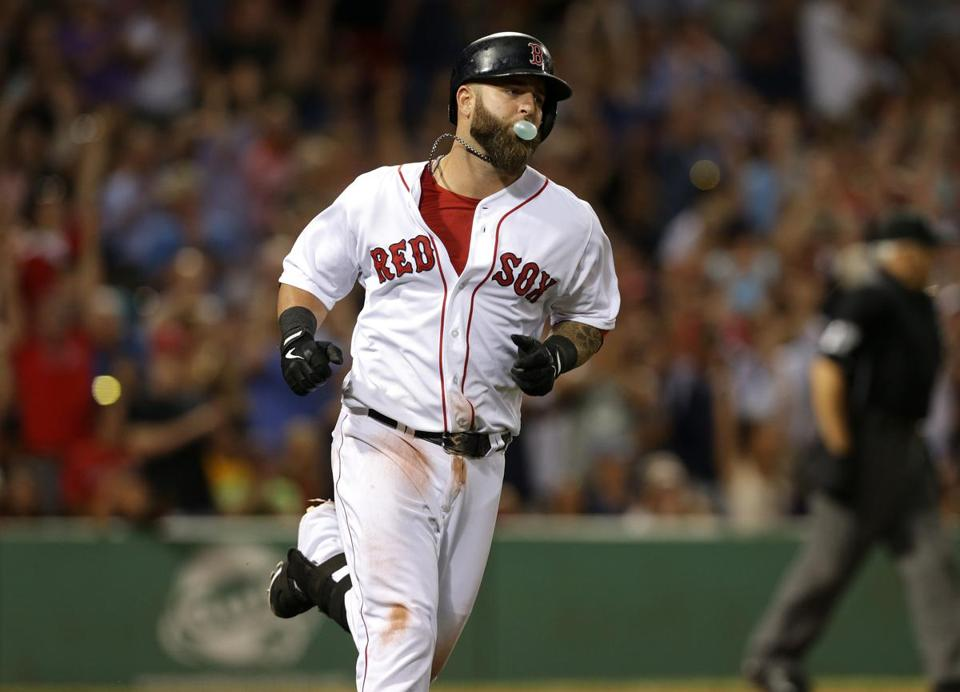 Mike Napoli blew a bubble gum bubble as he rounded the bases following his seventh-inning home run off David Price.