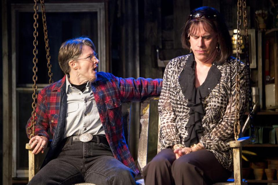 "Annette O'Toole as Robert (left) and Jeff McCarthy as Lola in Barrington Stage Company's ""Southern Comfort.''"