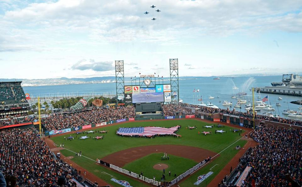 Fans stand for the national anthem before  Game One between the San Francisco Giants and the Detroit Tigers in the 2012  World Series at AT&T Park.