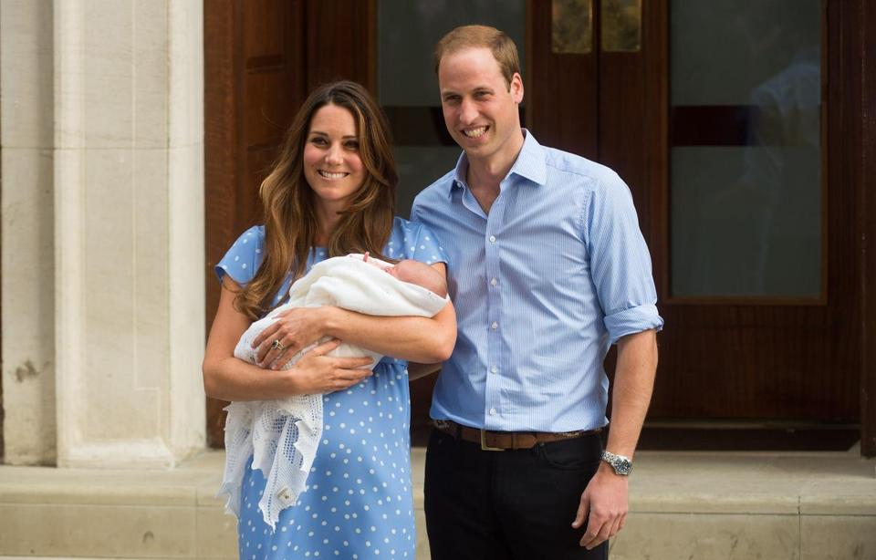 Prince William and his wife Kate with their newborn son at St Mary's Hospital.