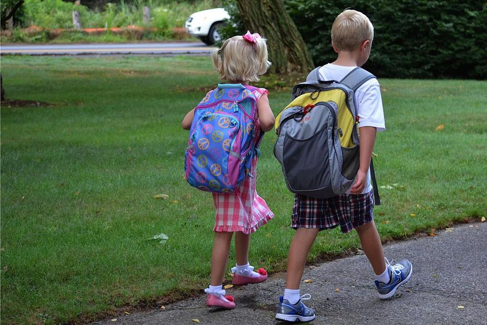 The columnist's grandchildren Charlotte and Adam, on the first day of school last fall.