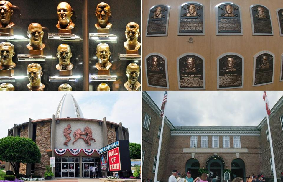 Left: Inside and outside the Pro Football Hall of Fame in Canton, Ohio. Right: Inside and outside the Baseball Hall of Fame in Cooperstown, N.Y.