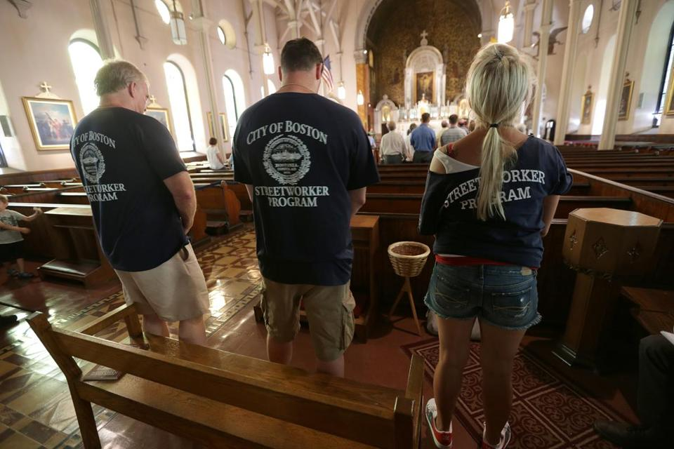 Mourners gathered for a Mass and prayer meeting to remember Amy Lord at St. Vincent de Paul Church in South Boston on Saturday.