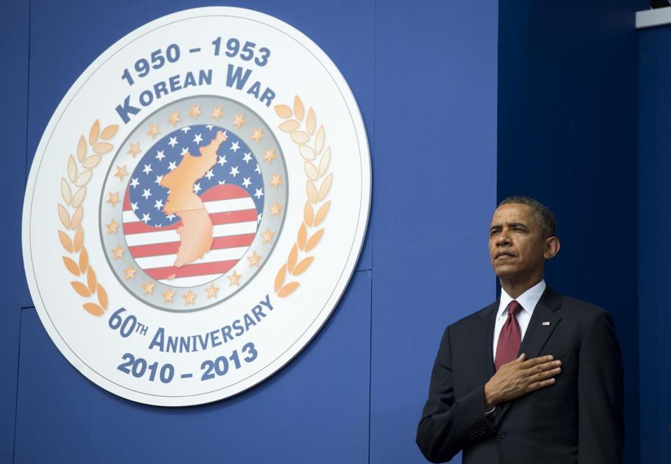 President Barack Obama stood for the National Anthem during a ceremony to commemorate the 60th anniversary of the signing of the Armistice that ended the Korean War.