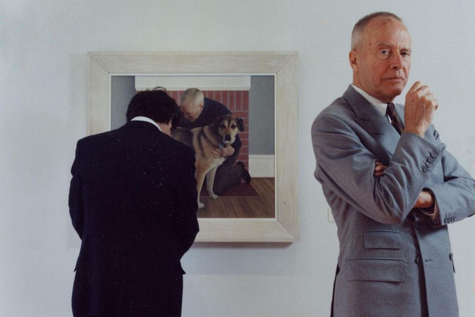 "Alex Colville in front of ""Dog and Groom, 1991."""