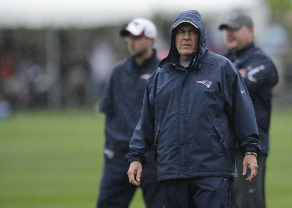New England Patriots head coach Bill Belichick during practice Friday.
