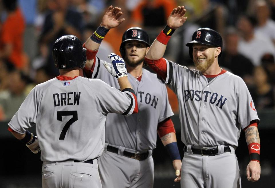 Jarrod Saltalamacchia, center, and Mike Carp gave Stephen Drew a hand after his three-run home run in the fourth inning.