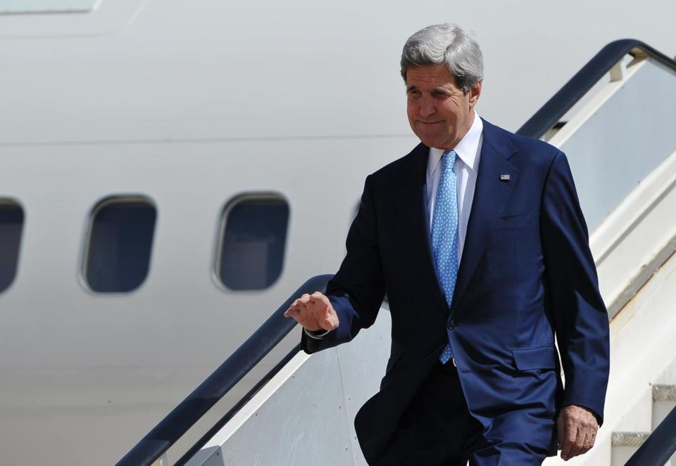 Secretary of State John Kerry stepped off his plane July 16 in Amman, Jordan, on one of several  trips to the region.