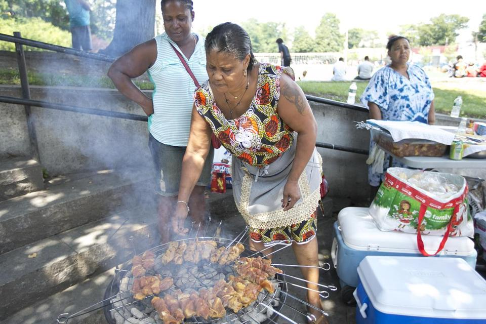Yolanda Rodrigues has been serving up her grilled fare at Ceylon Park on summer weekends for more than a decade.