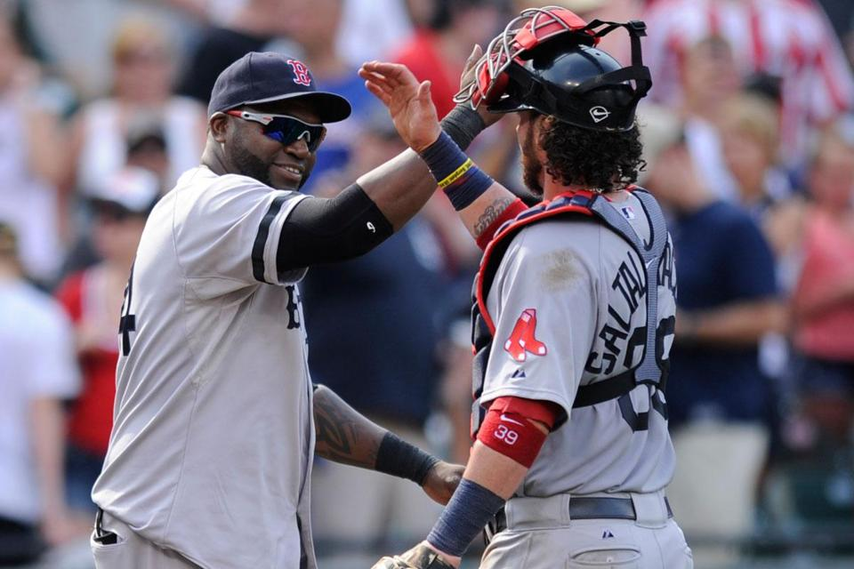 David Ortiz, celebrating with catcher Jarrod Saltalamacchia, was dialed in with a 4-for-4 performance.
