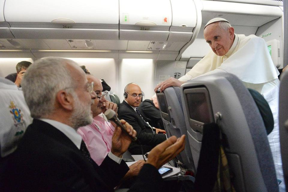 Pope Francis answered many questions during his press conference on a flight Monday.