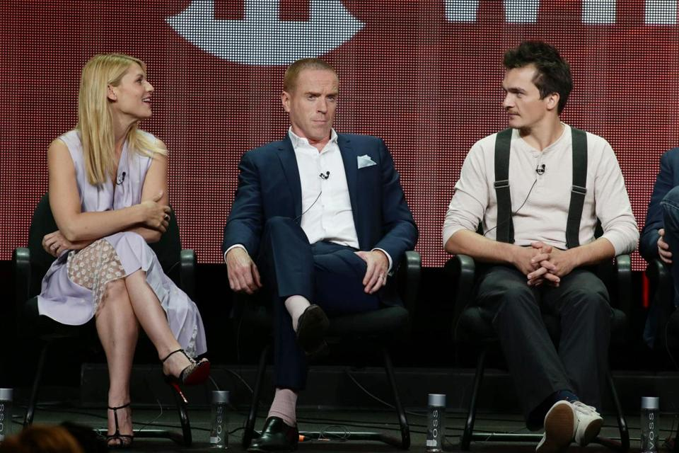From left, Claire Danes, Damian Lewis and Rupert Friend at Showtime's Homeland TCA Panel.