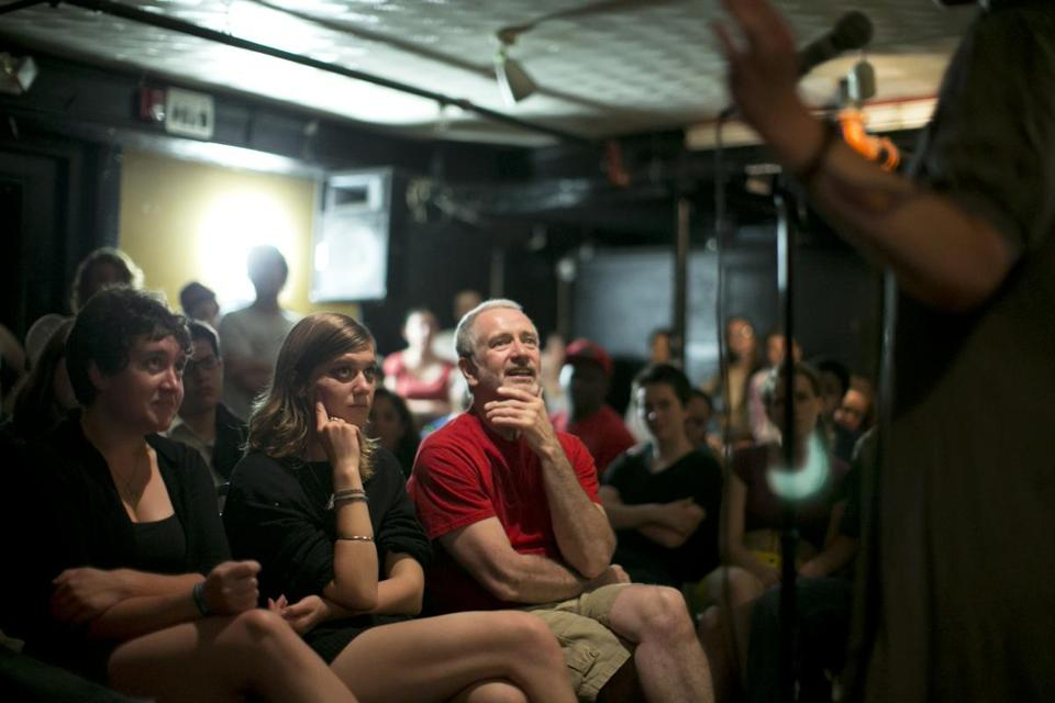 The audience at the Cantab Lounge in Cambridge for open mike night and a poetry slam.