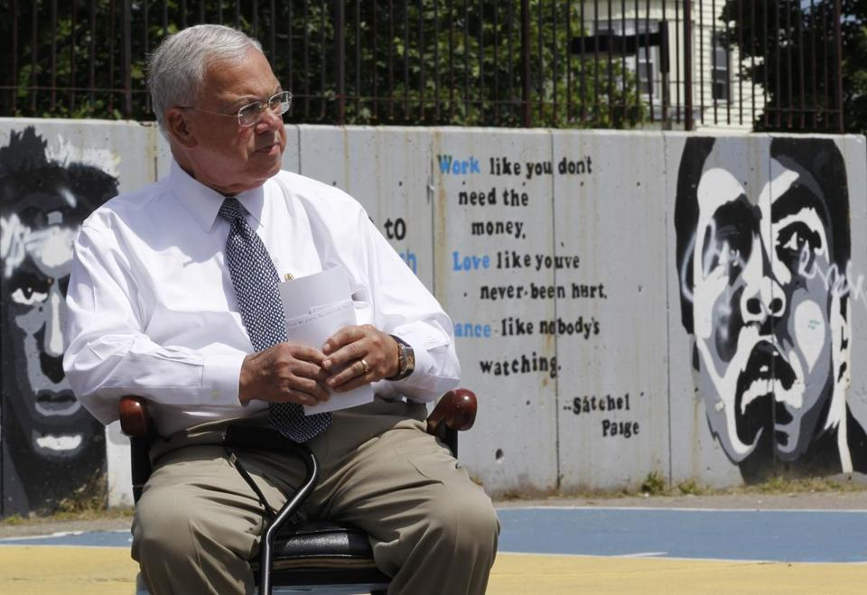 Mayor Menino attended a ceremony at the closed Marshall Elementary in Dorchester.