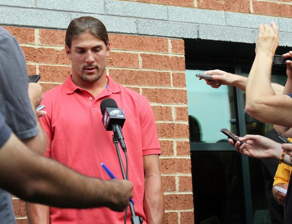 Riley Cooper spoke to reporters to apologize on Wednesday.