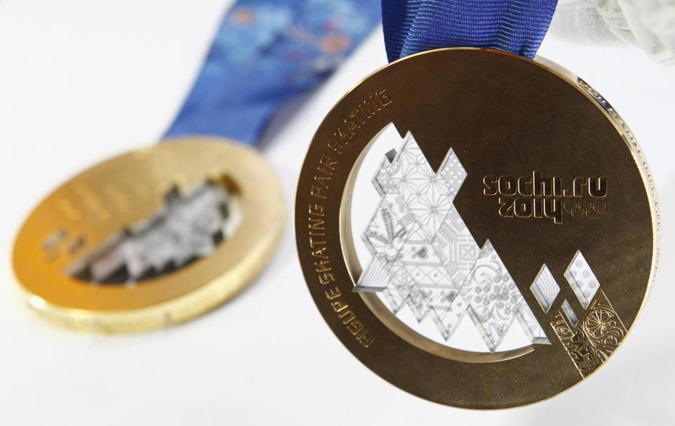 The medals that will be awarded at the Sochi Olympics.