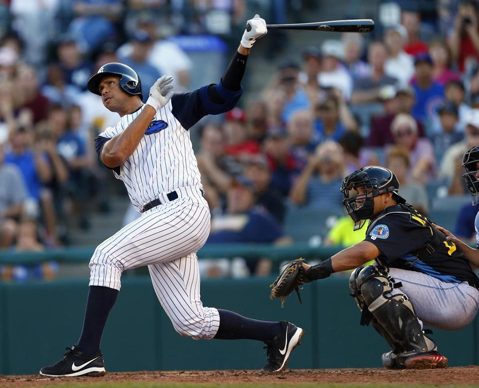 In Double A Trenton Thunder pinstripes, Alex Rodriguez watches what might be his last home run for a long time.
