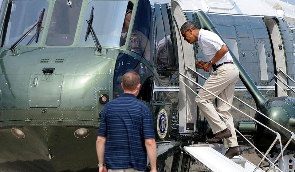 President Obama departed Joint Base Andrews, Md., aboard Marine One en route to Camp David, Md., on Saturday.