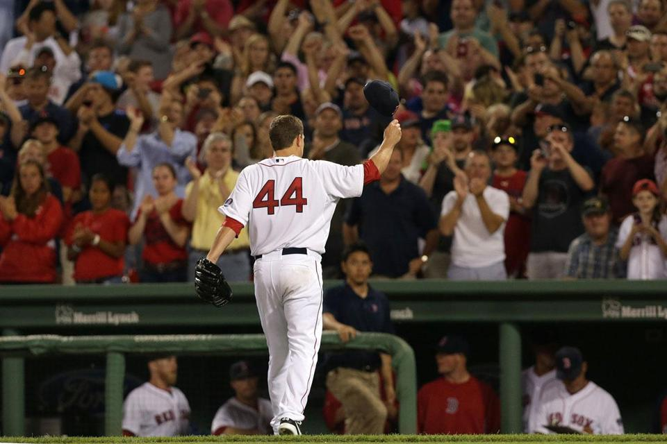The Fenway crowd sent Jake Peavy off with a standing ovation in the eighth inning.