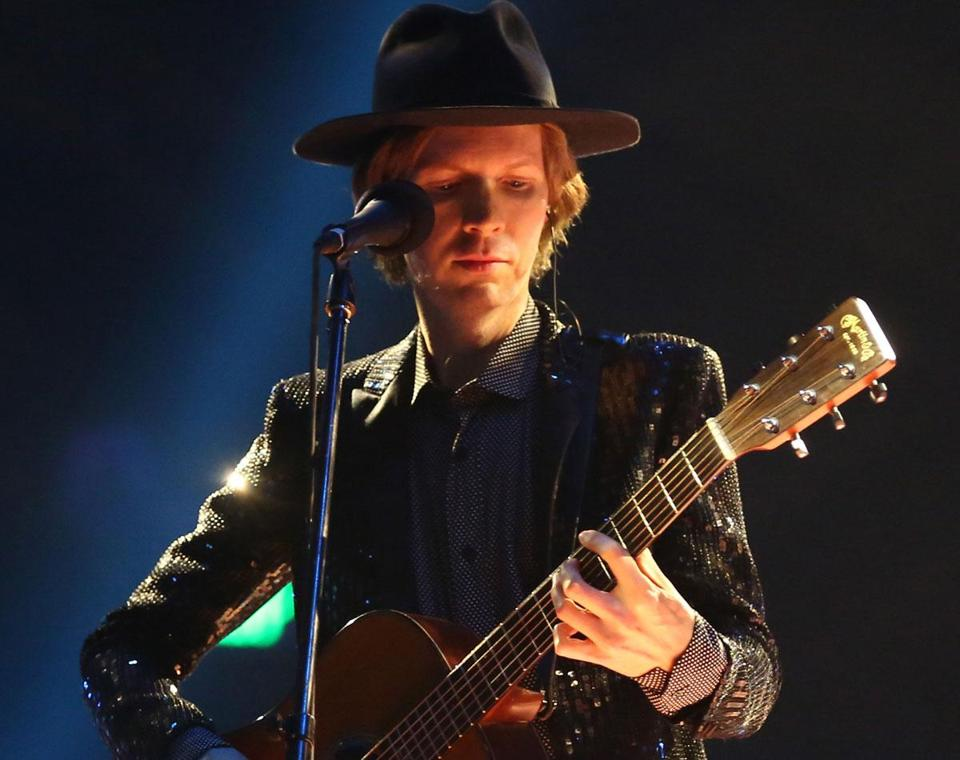 Beck, pictured here in Los Angeles in February, played a freewheeling set — which included mash-ups of his own songs with snippets of others — in Boston Friday.