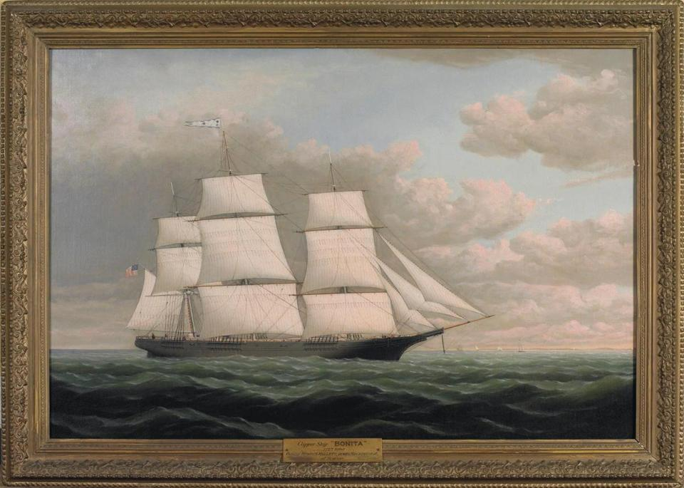 Topping the 40 paintings from the collection of The India House Club in New York being offered at Northeast Auctions' Marine, China Trade, Historical Americana and Sporting Art Auction is William Bradford's oil on canvas of the clipper ship Bonita, built in 1853 at South Boston. The estimate is $50,000-$80,000. Rare scrimshaw, whale ivory, mother-of-pearl, and mahogany collector's cabinet has a $30,000-$50,000 estimate. Rare pair of Chinese export porcelain chestnut baskets and liners bearing the arms of Christopher Gore of Waltham, governor of Massachusetts from 1809-10, has a $4,000-$5,000 estimate. Expected to be the auction's top seller is this 4¾-inch sperm whale's tooth engraved by Edward Burdett with a portrait of the Nantucket whaleship Pacific. The estimate is $180,000-$230,000.