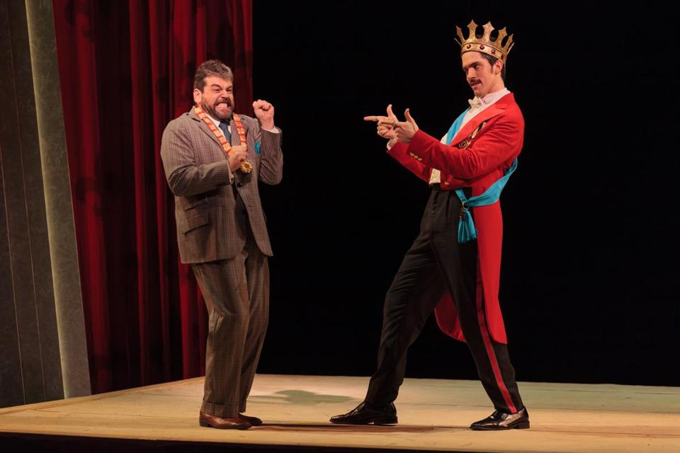 "Andrew Wilkowske (left) and Alex Lawrence in ""King for a Day."""