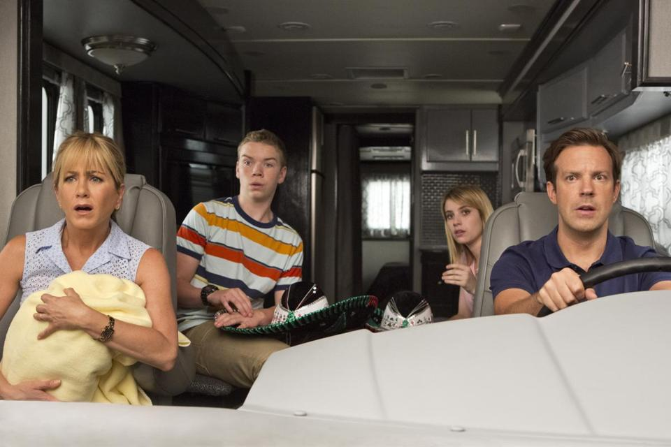"From left: Jennifer Aniston, Will Poulter, Emma Roberts, and Jason Sudeikis in ""We're the Millers."""