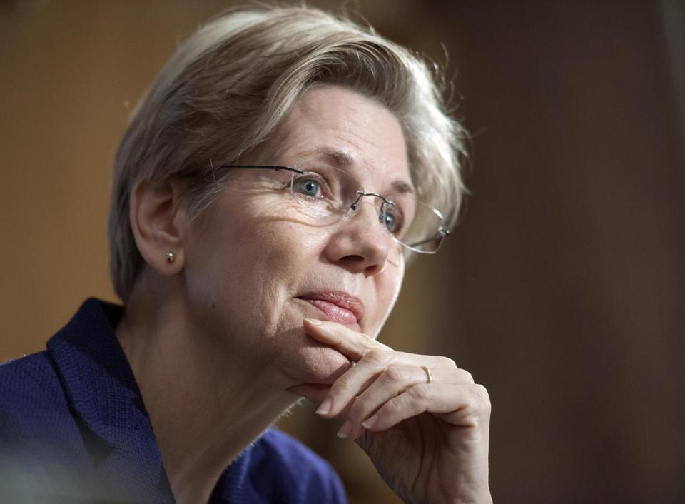 "Senator Elizabeth Warren said Thursday morning that ""we have to pick up the slingshots again"" in the David versus Goliath battle."