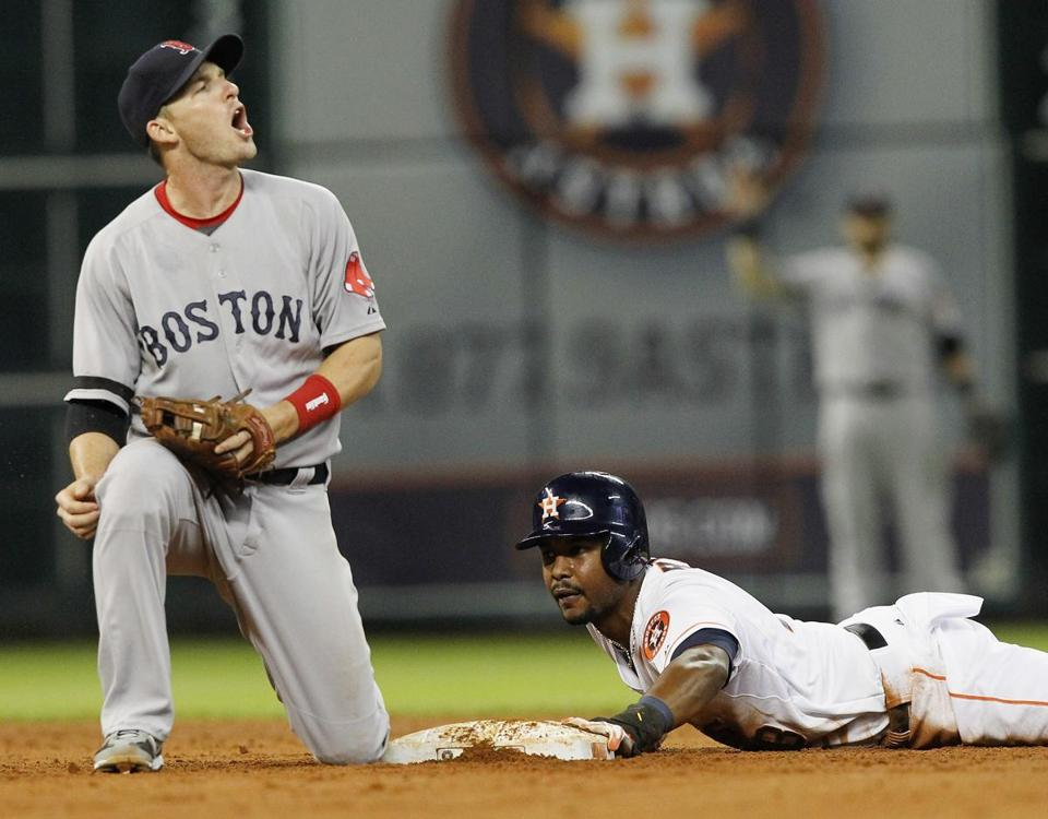 Stephen Drew was not happy when L.J. Hoes was called safe at second base.
