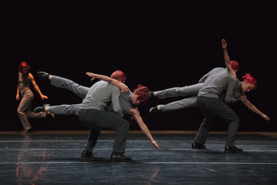 "Members of O Vertigo Danse perform ""La Vie Qui Bat (The Beat of Life),"" set to Steve Reich's ""Drumming,"" at Jacob's Pillow."