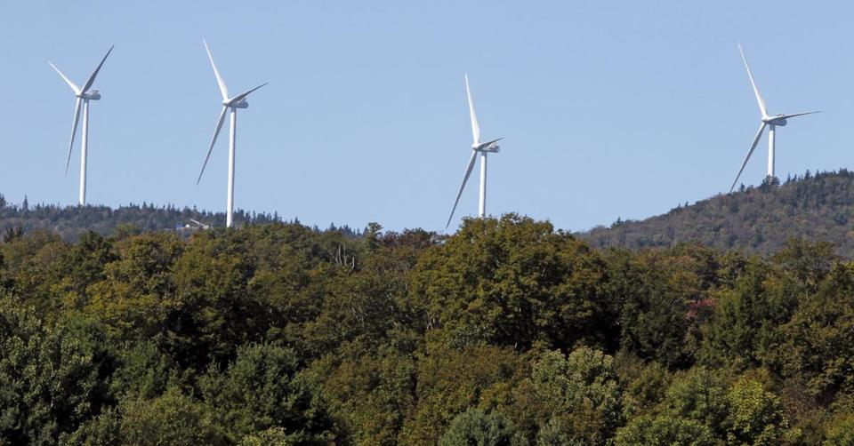 Green Mountain Power wind turbines in Lowell, Vt., where the governor urged a state utility to form plans to integrate renewable energy into the power grid.</p><br /> <p>