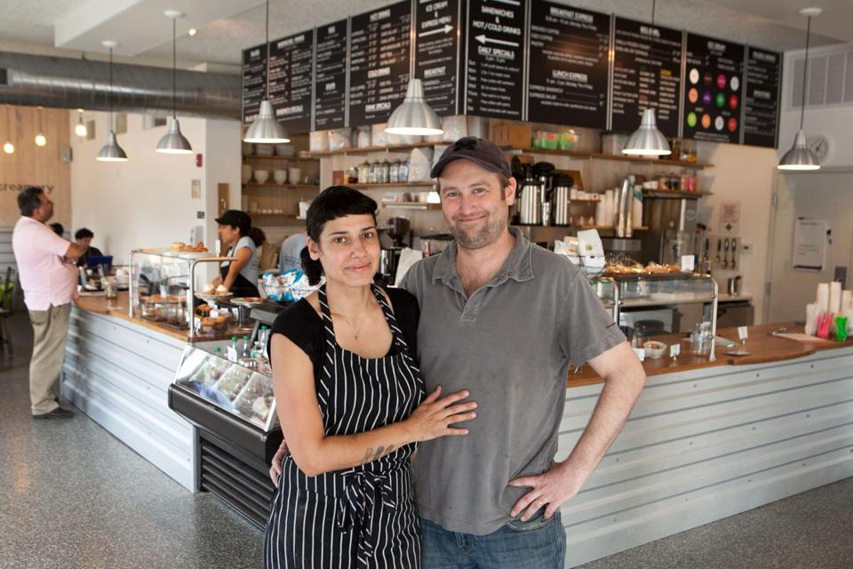 In addition to baked goods and latte, Tania and Phil Peterson (pictured) serve up sandwiches, salads, soups, and ice cream at the bright, airy Cafe Bartlett Square in Jamaica Plain.