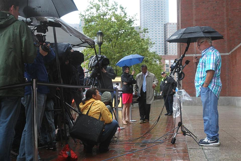 "Steve Davis, brother of alleged James ""Whitey"" Bulger victim Debra Davis, addressed the media on Friday in front of the J. Joseph Moakley US Courthouse."