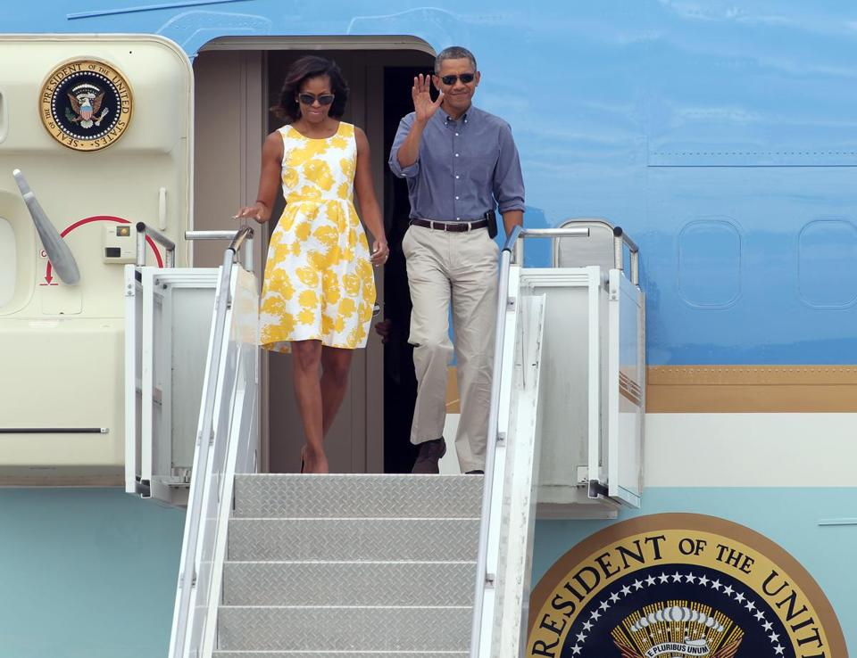 President Barack Obama and first lady Michelle Obama arrived at the Cape Cod Coast Guard Station in Bourne.